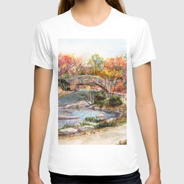 Autumn in Central Park, Manhattan, New York City. A watercolor painting. T-shirt
