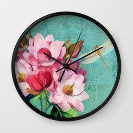 Verdigris Pink Magnolias Wall Clock