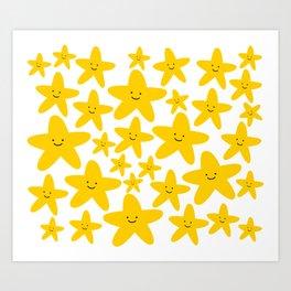 Kawaii Starfish Party Art Print