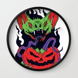 Bat Vampire Pumpkin Wall Clock