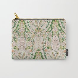 Green Pink Leaf Flower Paisley Carry-All Pouch