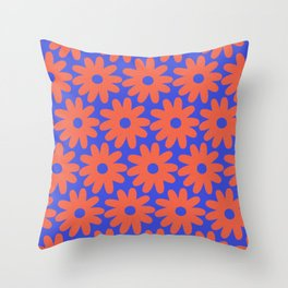 Crayon Flowers 3 Cheerful Smudgy Floral Pattern in Coral and Bright Blue Throw Pillow