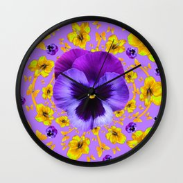 PURPLE PANSIES YELLOW BUTTERFLY FLOWERS Wall Clock