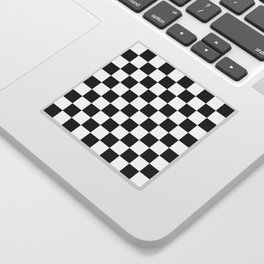 Checker Cross Squares Black & White Sticker