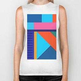 Modern Vibrant Geometric Pattern #10 Rectangles and Triangles Biker Tank