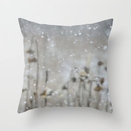 Sunflowers in the Snow Throw Pillow