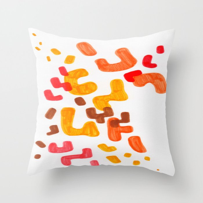 Minimalist Abstract Mid Century Modern Colorful Organic Patterns Red Orange Brown Throw Pillow
