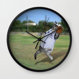 Baseball Catcher Kitten Wall Clock
