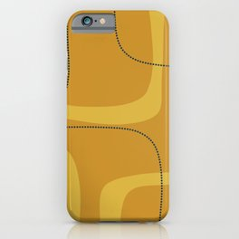 Retro Loops Minimalist Midcentury Modern Pattern in Mustard Tones with Navy Blue Accents iPhone Case