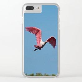 Roseate Spoonbill in Flight VI Clear iPhone Case