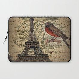I love Paris Shabby chic Robin French Scripts Jubilee Crown Vintage Paris Eiffel Tower Laptop Sleeve