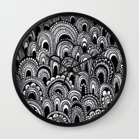 alisa burke Wall Clocks featuring black and white scallops by Alisa Burke