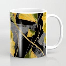 Yellow Ginkgo Leaves on Black Coffee Mug