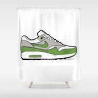 "nike Shower Curtains featuring NIKE Air Max 1 ""Patta"" by Graphkicks"