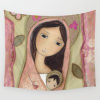 madonna Wall Tapestries featuring Madonna in Pink by Flor Larios by Flor Larios Art