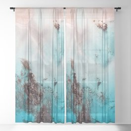 Pink Coral Coastline Sheer Curtain