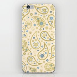 Paisley Funky Design Cream Golds Blues iPhone Skin