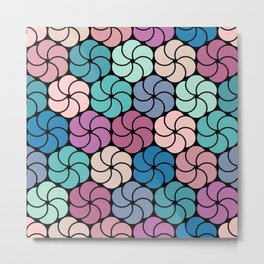 Geometric flowers pattern Metal Print