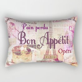 Bon Appetit French food words kitchen art Rectangular Pillow