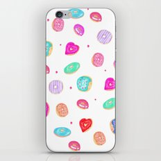 Cute watercolor hand painted donuts foodie pattern iPhone & iPod Skin