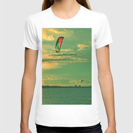 Kiting in cold water in April T-shirt