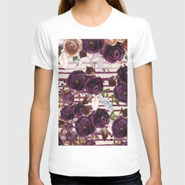 Watercolor ivory purple burgundy brown floral stripes T-shirt