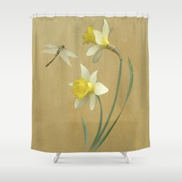 Daffodil and Dragonfly Shower Curtain