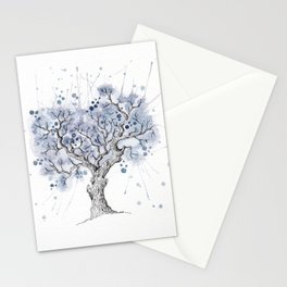 Watercolor winter tree Stationery Cards