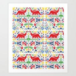 Swedish Folk Art Dinosaurs Art Print