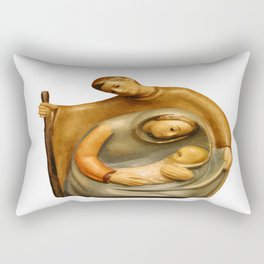 Nativity Scene Mary Joseph and Jesus Rectangular Pillow