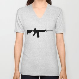 AR15 in black silhouette on white Unisex V-Neck