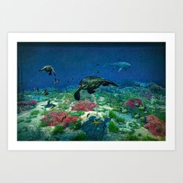 Sea turtles swim through the Mediterranean Sea Art Print