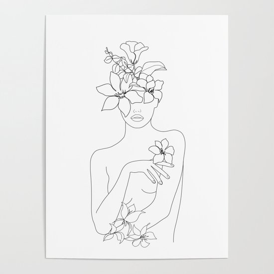 Minimal Line Art Woman with Flowers IV by nadja1
