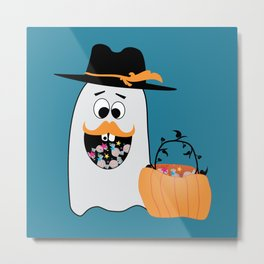 Silly Halloween Ghost Wants Your Candy Metal Print