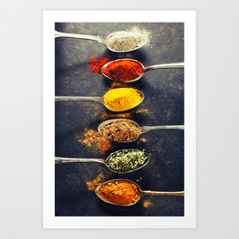 Colorful spices in metal spoons Art Print