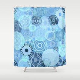 Kooky Kaleidoscope Pretty Blues Shower Curtain