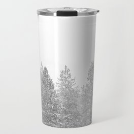 Snow Day // Black and White Winter Landscape Photography Snowing Whiteout Blizzard Travel Mug