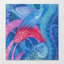 The Spawning, underwater art, pink & blue fish Canvas Print