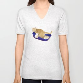 Litter Box Selfie Unisex V-Neck