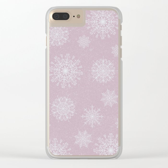 Assorted Snowflakes On Pink Background Clear iPhone Case