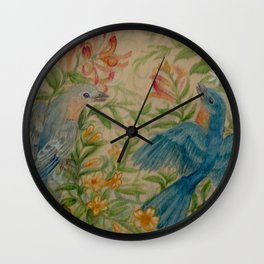 Bluebirds in Spring Thicket Wall Clock