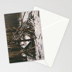 Shelter in snowy woodland. Norfolk, UK. Stationery Cards