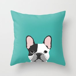 French Bulldog black and white peeking dog head funny dog gifts frenchies must haves Throw Pillow