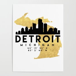DETROIT MICHIGAN SILHOUETTE SKYLINE MAP ART Poster