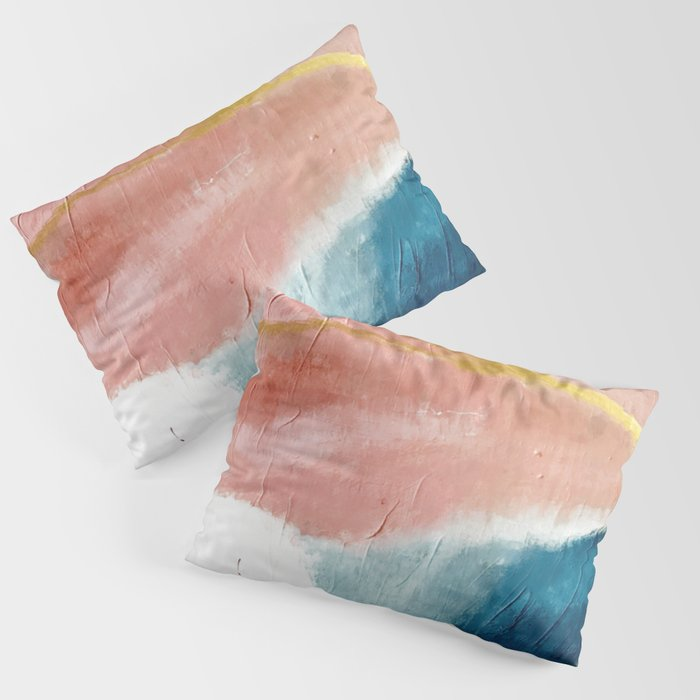 Exhale: a pretty, minimal, acrylic piece in pinks, blues, and gold Kissenbezug