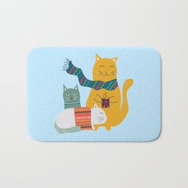 Cat cuddle -Hand Draw Bath Mat