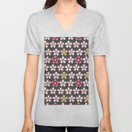 Cute trendy pink gray faux gold abstract flowers pattern Unisex V-Neck