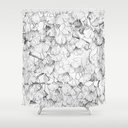 Ginkgo biloba - pattern in black Shower Curtain