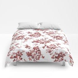 Shabby vintage coral burgundy brown roses floral Comforters