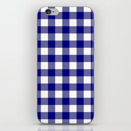 Gingham (Navy Blue/White) iPhone Skin